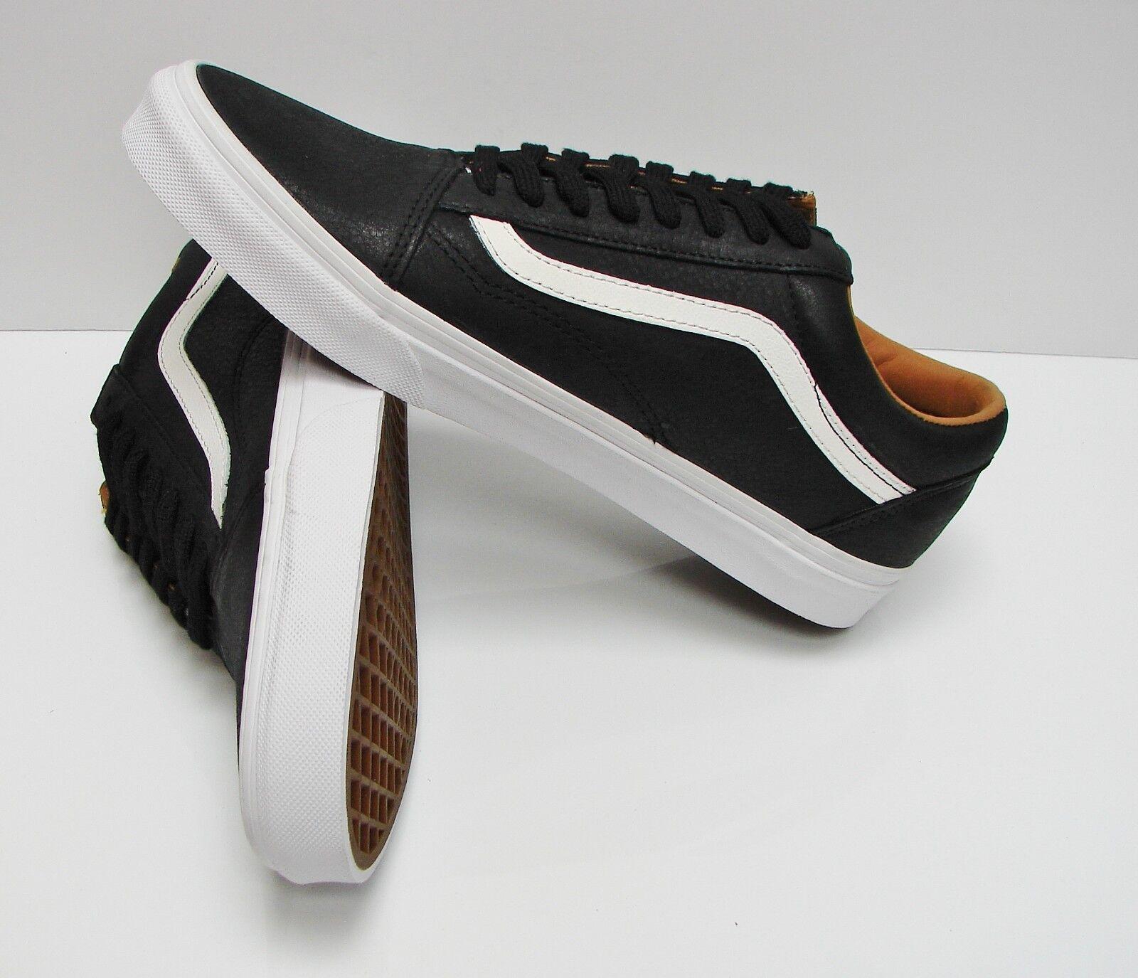Vans Old Skool Skool Skool Premium Leather Black True White VN0A38G1II7 Men's Size  10.5 05e553