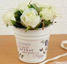 Personalised Secret Garden Porcelain Bucket Plant Pot Birthday Anniversary Gift