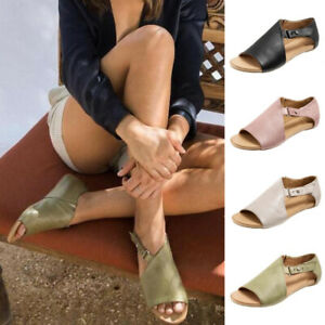 Women-Flat-Buckle-Sandals-Faux-Leather-Peep-Toe-Gladiator-Beach-Comfy-Shoes-Size