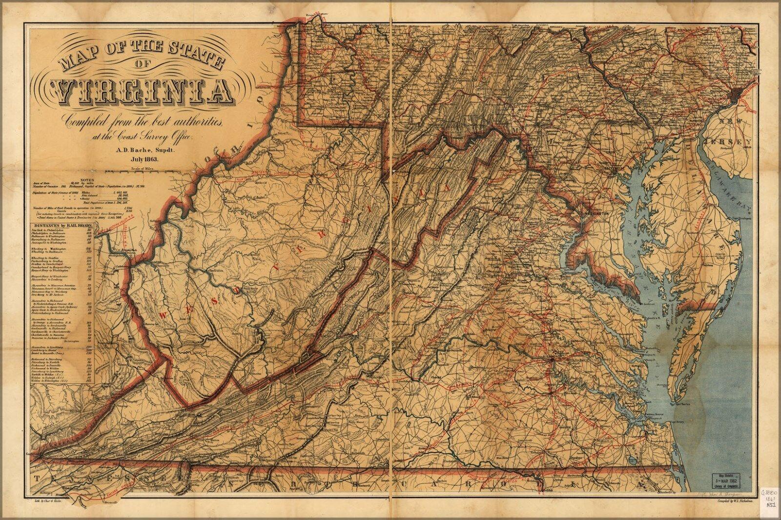 Poster, Molte Misure; Misure; Misure; Mappa Del lo Stato di Virginia 1863 35d368
