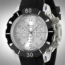 NEW Geneva Platinum 2123 Mens Clarion Silver Clear Case Black Sillicone Watch