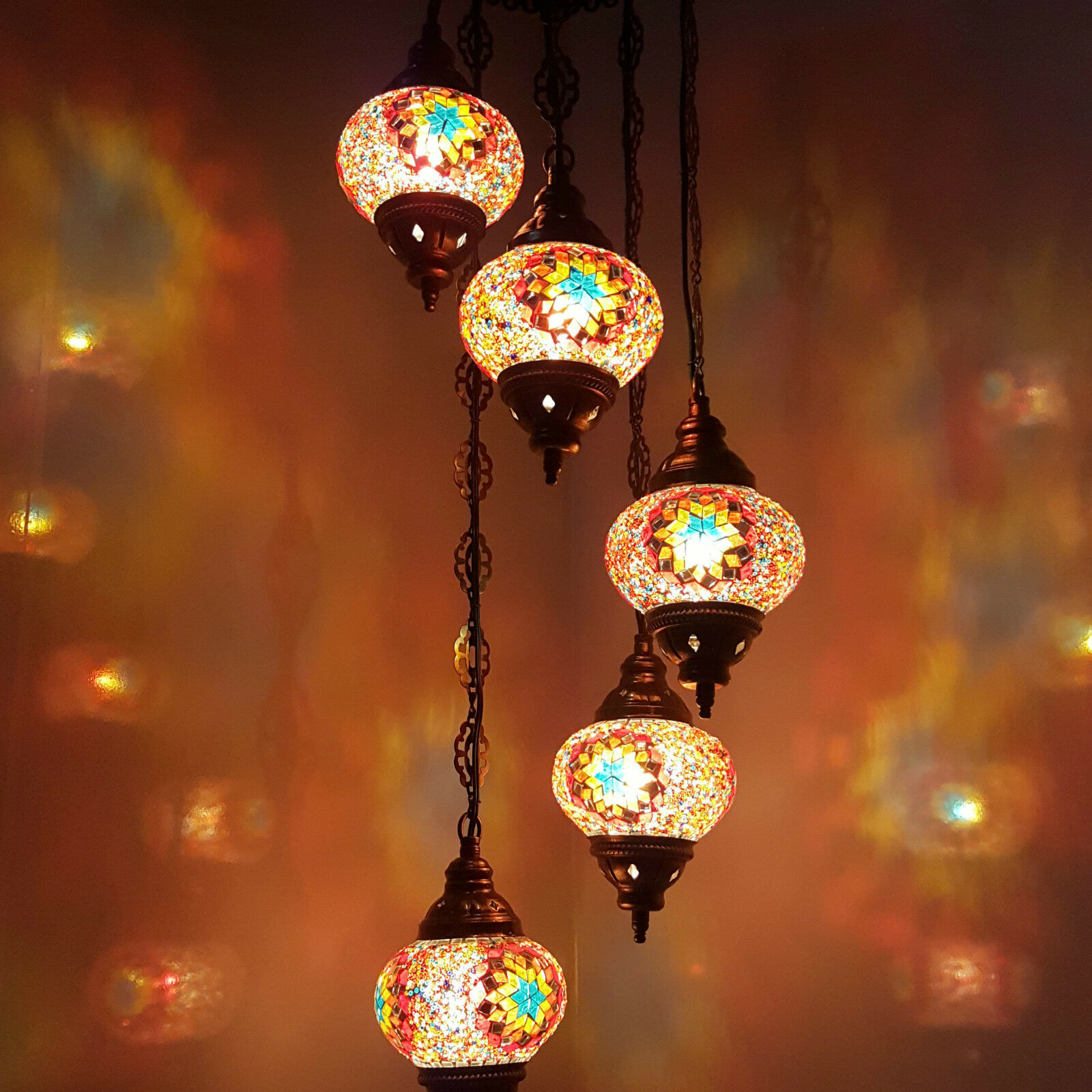Turkish Moroccan Tiffany Hanging Glass Mosaic Chandelier