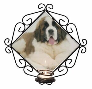 St Bernard Dog /'Love You Dad/' Wrought Iron T-light Candle Holder Gift DAD-98CH