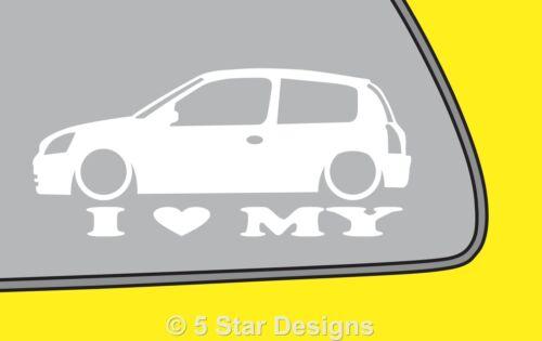 2x LOVE LOW Renault Clio sport RS 182 mk2 outline sticker LR282
