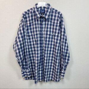 Wrangler-Plaid-Pearl-Snap-Long-Sleeve-Button-Down-Shirt-Mens-size-3XLT
