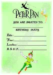 A5 disney kids childrens party invitations x 12 peter pan invites a5 disney kids childrens party invitations x 12 filmwisefo