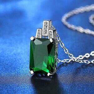 Damen-Halskette-Silber-925-Smaragd-Edelstein-Kette-mit-Anhaenger-Geschenk-Trend