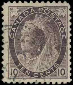 Canada-83-used-F-VF-1898-Queen-Victoria-10c-brown-violet-Numeral-CDS-CV-30-00