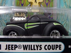 41 Willys Coupe Flat Black Muscle Machine Funline Street Rod 1 64