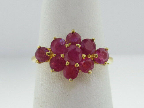 1.98CT Natural Red Rubies Solid  90%  21K Yellow gold Ring FREE SIZING