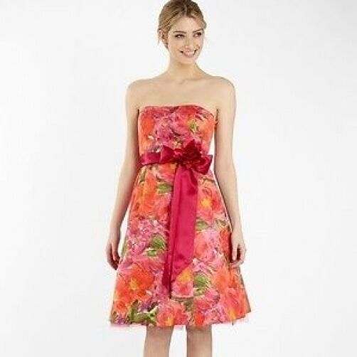 NUOVO Debenhams Debut rosa rosa rosa Arancio Floreale Vestito Sz RRP 5c1cac