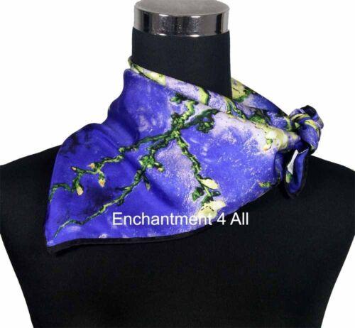 """San Remy/"""" 1890 100/% Silk Twill Scarf Wrap w// Van Gogh /""""Almond Branches in Bloom"""
