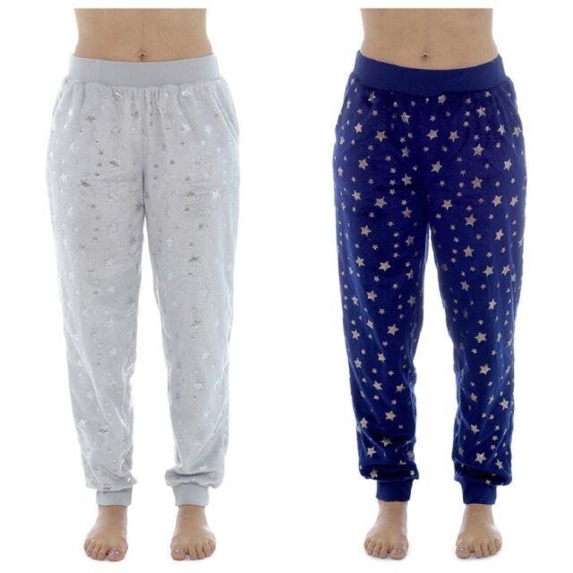 Womens Ladies Foxbury Fleece Cuff Lounge Pants Pyjama Bottoms Foil Star Print