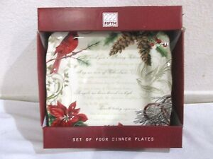222-FIFTH-HOLIDAY-WISHES-POINSETTIA-CARDINAL-CHRISTMAS-DINNER-PLATE-Set-of-4