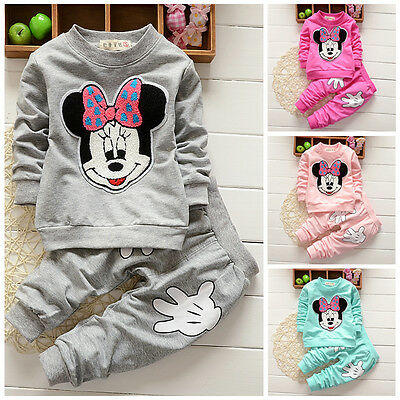 Pants Kids Girls Baby Outfits Set Clothes Minnie Long Sleeve Sweatshirt Tops