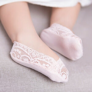 Girl Kid Cotton Lace Antiskid Invisible Liner No Show Peds Low Cut Socks