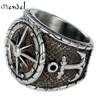 Details about  /Stainless Steel Nautical US Navy Compass Anchor Silver Ring Men Sailor Size 7-14