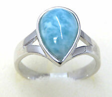 #R15908 5ct Natural Caribbean Ocean Blue Larimar W/Gold Over 925 Silver Ring