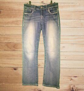 Daytrip-Virgo-Buckle-Women-039-s-Medium-Wash-Jeans-White-Thread-Studs-Meas-Sz-31