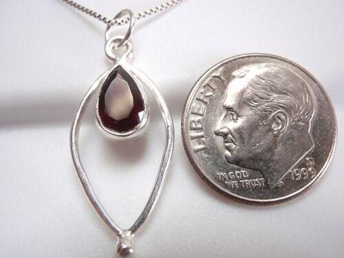 Faceted Garnet Teardrop in Hoop Necklace 925 Sterling Silver New