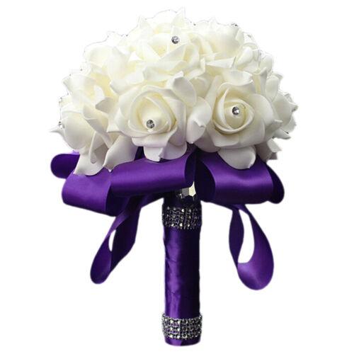 Bridal Handmade Flower Bouquet Diamante Rose Foam Crystal Wedding  Party Decor