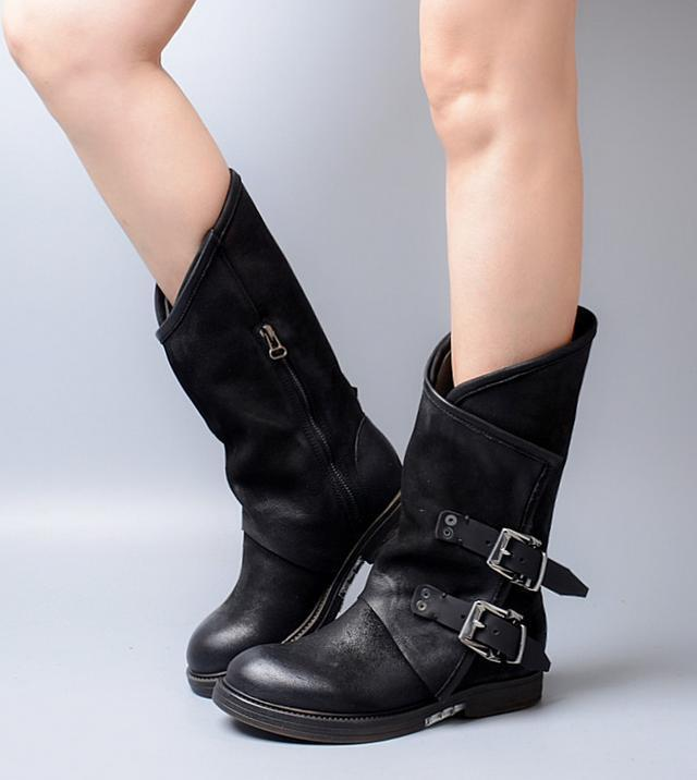 Retro real leather women's punk buckle round toe riding mid calf boots shoes