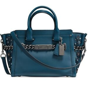 6cb80db2 Details about New COACH Swagger 27 Glovetanned Leather Willow Floral 59091  bouquet rivets bag