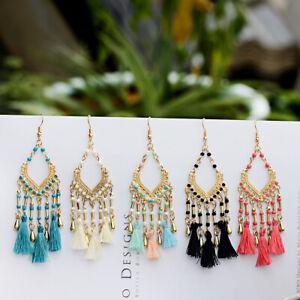 Fashion-Bohemian-Jewelry-Elegant-Beads-Tassel-Earrings-Long-Drop-Dangle-Women