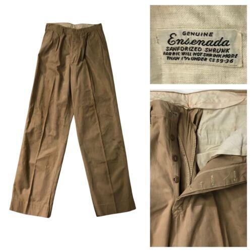 1930s Button Fly Work Pants / Ensenada Khaki Workw