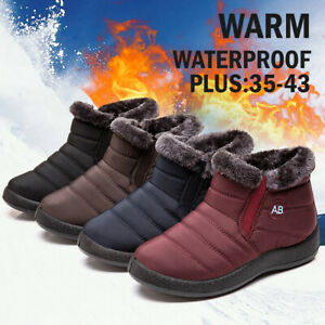 Waterproof-Women-Winter-Warm-Fur-lined-Ankle-Boots-Slip-On-Flat-Snow-Boots-Shoes