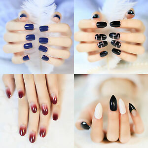 Image Is Loading Black Matte False Nails Wine Red Grant Round