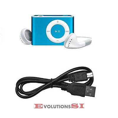 MINI CLIP REPRODUCTOR MP3 PARA MICRO SD HASTA 8GB CON AURICULARES Y CABLE AZUL