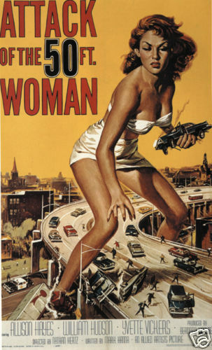 Attack of the 50 ft woman cult movie poster print