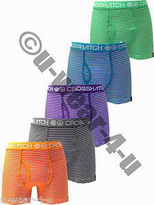 MENS STRIPED CROSSHATCH BOXER SHORTS. 5 COLOURS AVAILABLE. S,M,L,XL