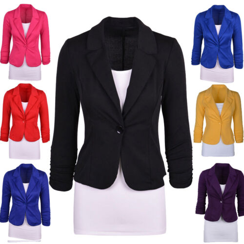 Moda Donna Donna Elegante Casual Suit Cappotto Giacca Blazer Taglia UK 2 6 10 14 16