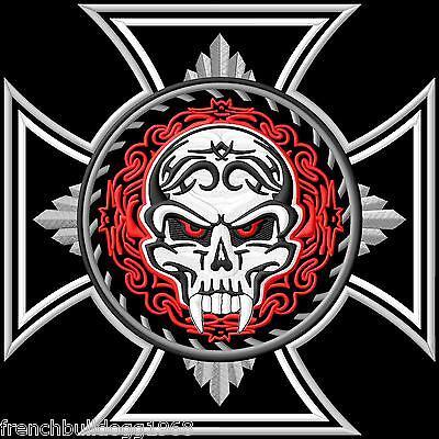 Agressief Iron Cross&tribal Skull Patch Backpatch Xl 25x25cm Old School Rockabilly Kutte