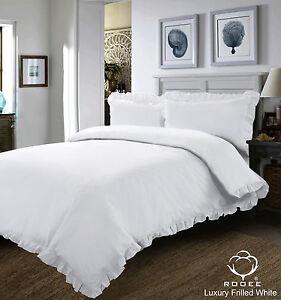 New White Plain Frilled Edge Duvet Set Bedding Set Quilt Cover