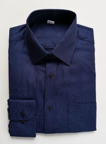 Ex M/&S REGULAR FIT NAVY BLUE PAISLEY COTTON SHIRT 14.5-18.5  BNWOT B55