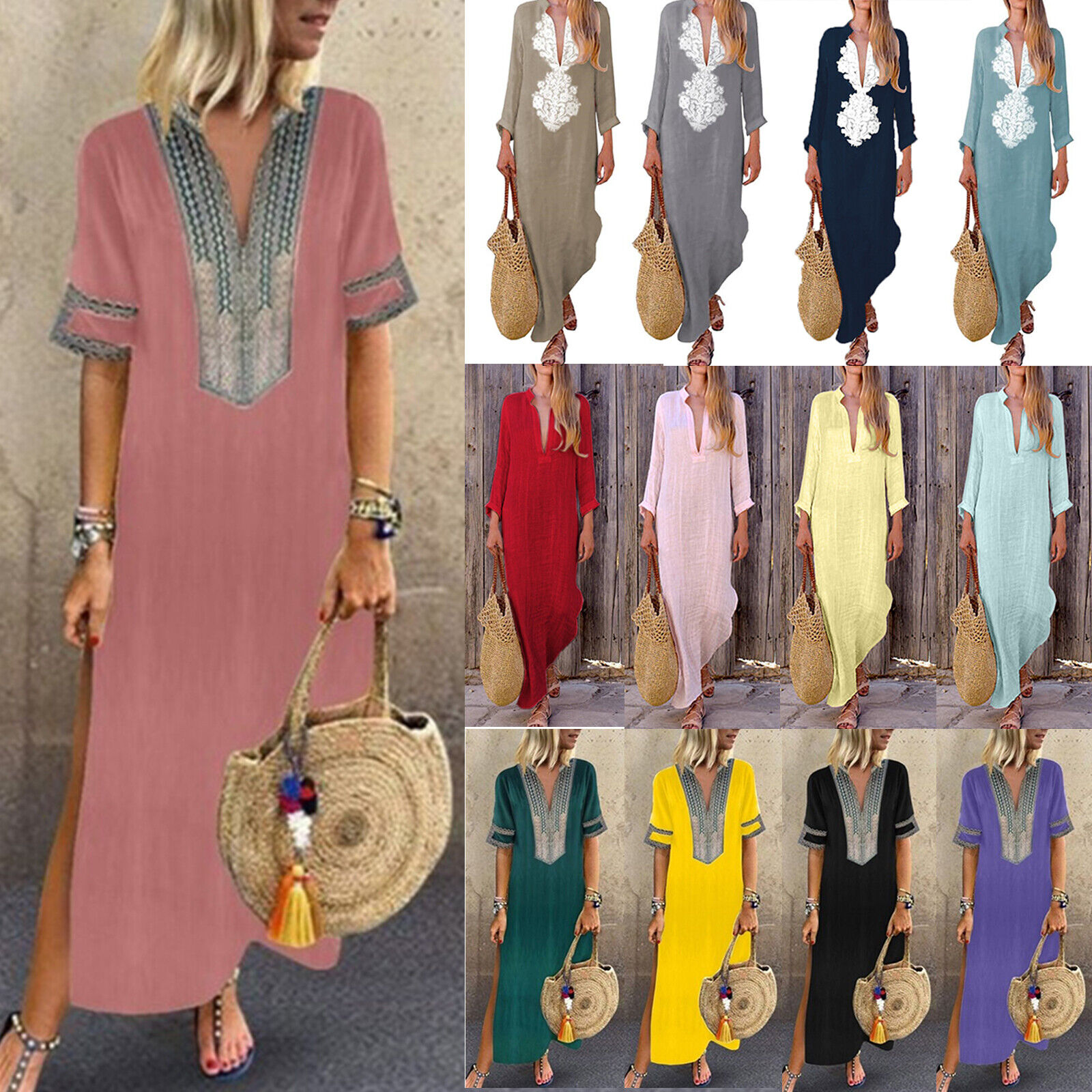 Women Ladies Boho Floral  Cotton Linen Long Maxi Dress Casual Baggy Loose Kaftan