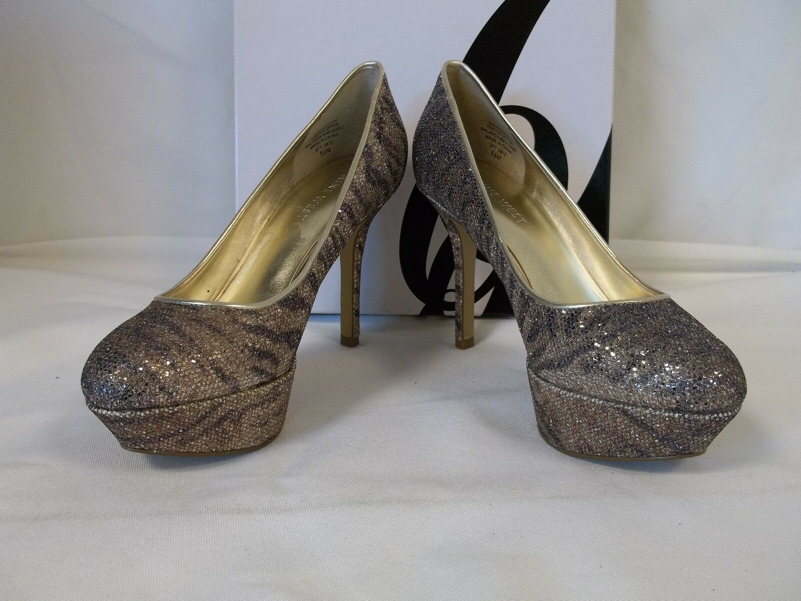 Nine West 8 8 West Mendoza Gold Silver Heels New Damenschuhe Schuhes b59282