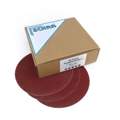 50 ECKRA® Schleifscheiben Klett Ø150mm ohne Loch P150 Schleifpapier Excentersche