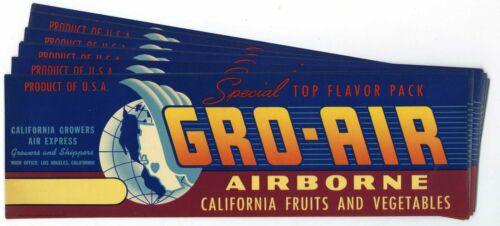 Wholesale 25 Gro-Air Brand Produce Crate Labels
