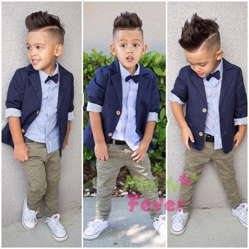stripe shirt 3pcs Toddler Baby Boys Suit  Coat pants gentleman clothes Set