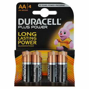 duracell plus power aa batteries double a 4 pack 1 5v non rechargeable 41333035611 ebay. Black Bedroom Furniture Sets. Home Design Ideas