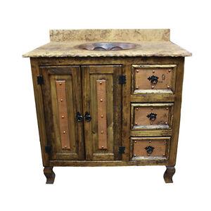 36 Stone Top Vanity Copper Doors Single Sink Rustic Western Real Solid Wood