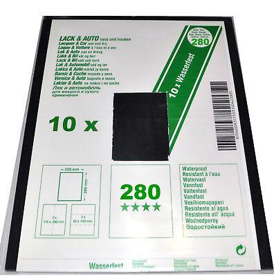 10 Blatt Nass Schleifpapier 230 x 280  Lack+Auto  280er Körnung G 280 Nr