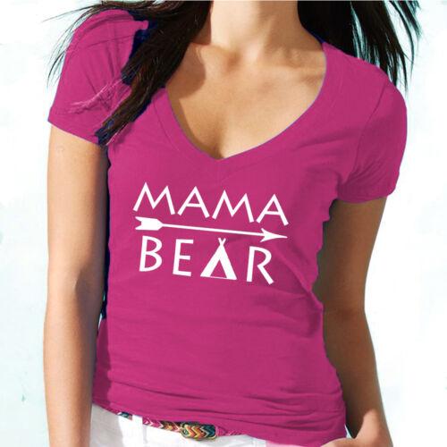 Mama Bear V-NECK ARROW Tshirt Mom Mother Mama Bear Tee Shirt Mothers Day Tee