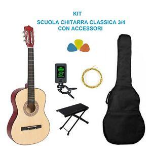Chitarra-Classica-3-4-Accordatore-Corde-Custodia-Poggiapiede-Kit-Completo