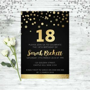 18TH-BIRTHDAY-INVITATIONS-AGE-EIGHTEEN-PERSONALISED-PARTY-SUPPLIES-INVITE-GOLD