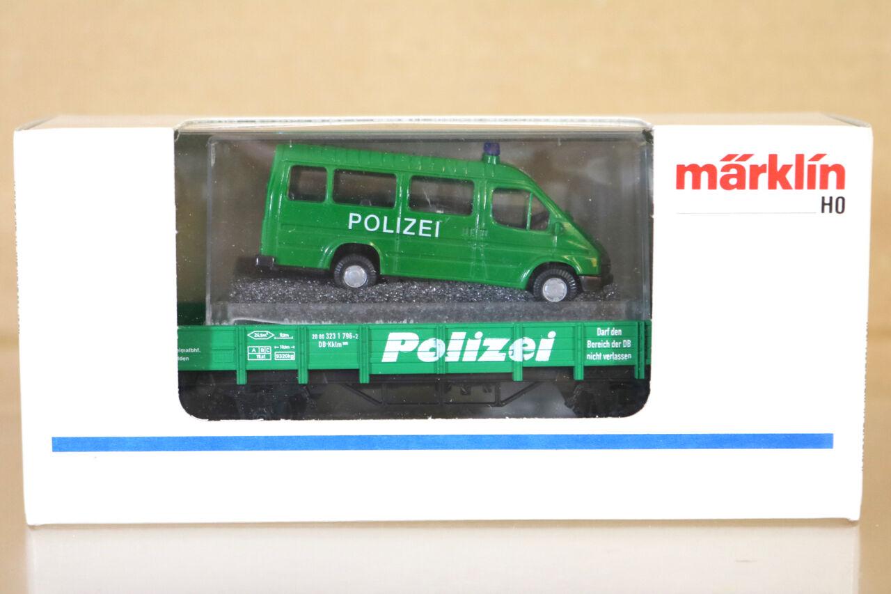 Marklin Märklin 4423 DB Polizei Niederboard Wagen & Ford Transit Van Charge green